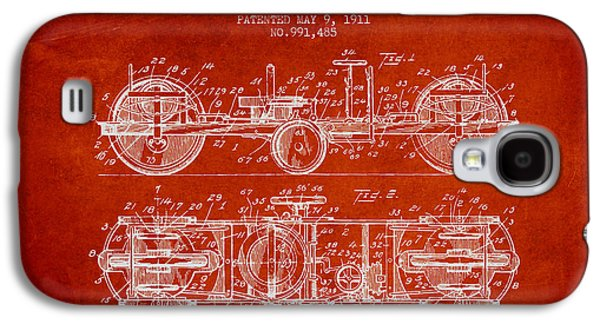 Bike Drawings Galaxy S4 Cases - 1911 Gyrocycle Patent - Red Galaxy S4 Case by Aged Pixel