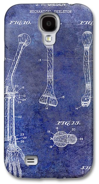 Skeleton Galaxy S4 Cases - 1911 Mechanical Skeleton Patent Blue Galaxy S4 Case by Jon Neidert