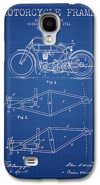 Bike Drawings Galaxy S4 Cases - 1911 Motorcycle Frame Patent - blueprint Galaxy S4 Case by Aged Pixel