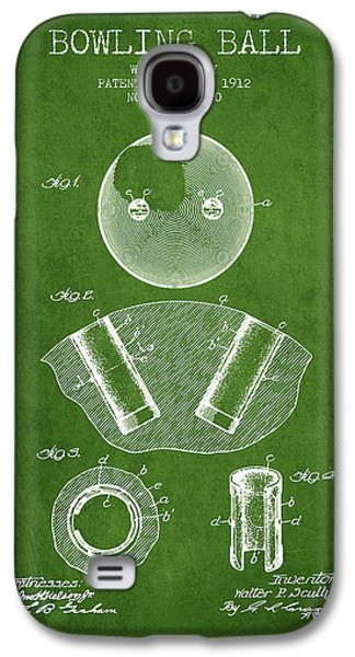 Carpet Drawings Galaxy S4 Cases - 1912 Bowling Ball Patent - Green Galaxy S4 Case by Aged Pixel