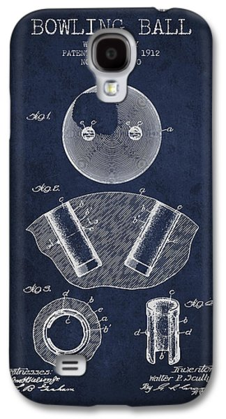 Carpet Drawings Galaxy S4 Cases - 1912 Bowling Ball Patent - Navy Blue Galaxy S4 Case by Aged Pixel