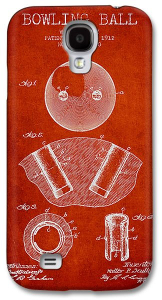 Carpet Drawings Galaxy S4 Cases - 1912 Bowling Ball Patent - Red Galaxy S4 Case by Aged Pixel