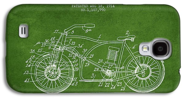 Bike Drawings Galaxy S4 Cases - 1914 Motorcycle Patent - Green Galaxy S4 Case by Aged Pixel