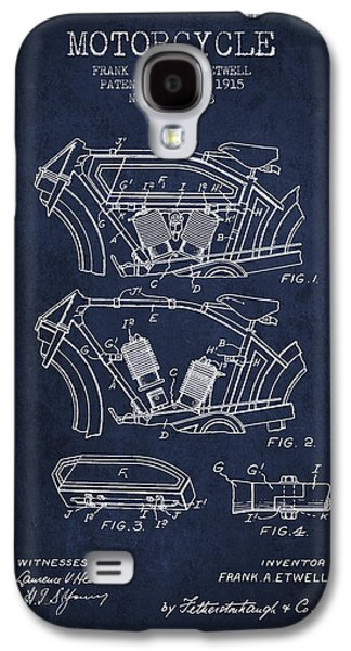 Bike Drawings Galaxy S4 Cases - 1915 Motorcycle Patent 02 -  navy blue Galaxy S4 Case by Aged Pixel