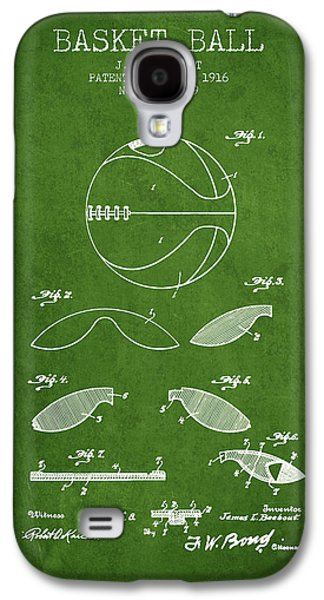 1916 Basket Ball Patent - Green Galaxy S4 Case by Aged Pixel