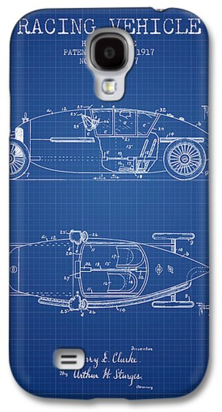 Old Car Drawings Galaxy S4 Cases - 1917 Racing Vehicle Patent - Blueprint Galaxy S4 Case by Aged Pixel