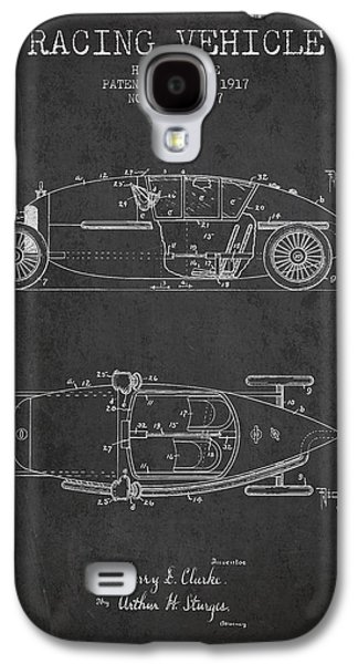 Old Car Drawings Galaxy S4 Cases - 1917 Racing Vehicle Patent - Charcoal Galaxy S4 Case by Aged Pixel