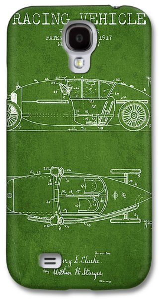 Old Car Drawings Galaxy S4 Cases - 1917 Racing Vehicle Patent - Green Galaxy S4 Case by Aged Pixel