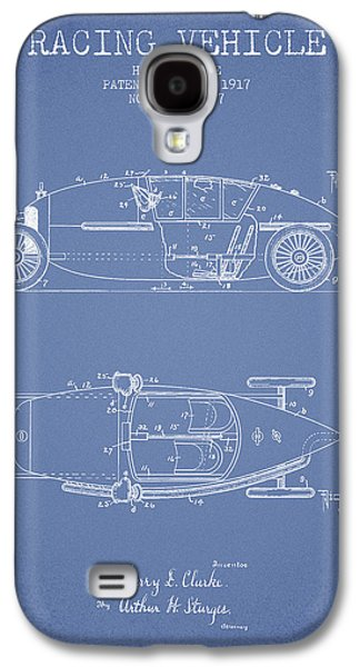 Old Car Drawings Galaxy S4 Cases - 1917 Racing Vehicle Patent - Light Blue Galaxy S4 Case by Aged Pixel