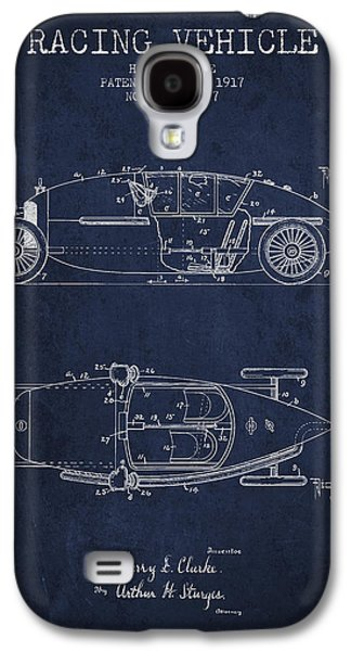Old Car Drawings Galaxy S4 Cases - 1917 Racing Vehicle Patent - Navy Blue Galaxy S4 Case by Aged Pixel