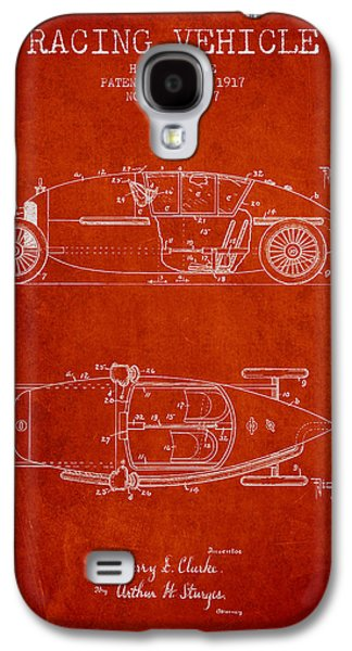 Old Car Drawings Galaxy S4 Cases - 1917 Racing Vehicle Patent - Red Galaxy S4 Case by Aged Pixel