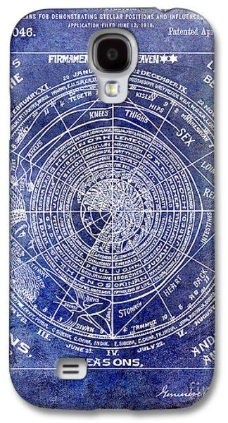 Astrology Galaxy S4 Cases - 1919 Astrology Patent Blue Galaxy S4 Case by Jon Neidert