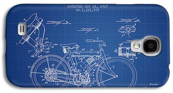Bike Drawings Galaxy S4 Cases - 1919 Motorcycle Patent - Blueprint Galaxy S4 Case by Aged Pixel