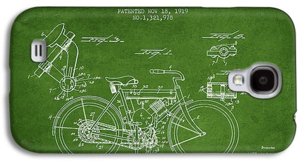 Bike Drawings Galaxy S4 Cases - 1919 Motorcycle Patent - Green Galaxy S4 Case by Aged Pixel