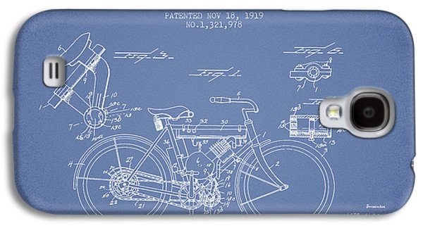 Bike Drawings Galaxy S4 Cases - 1919 Motorcycle Patent - Light Blue Galaxy S4 Case by Aged Pixel
