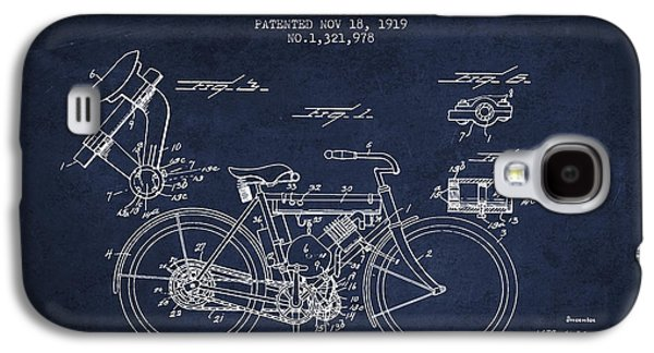 Bike Drawings Galaxy S4 Cases - 1919 Motorcycle Patent - Navy Blue Galaxy S4 Case by Aged Pixel