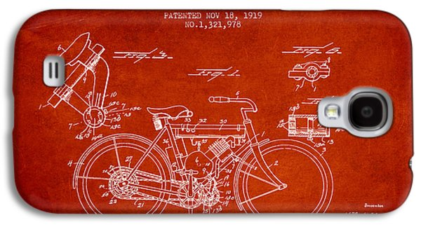 Bike Drawings Galaxy S4 Cases - 1919 Motorcycle Patent - Red Galaxy S4 Case by Aged Pixel