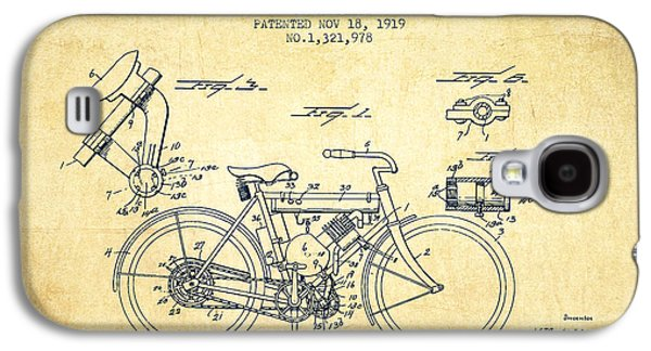 Bike Drawings Galaxy S4 Cases - 1919 Motorcycle Patent - Vintage Galaxy S4 Case by Aged Pixel