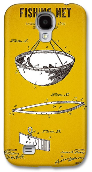 Fish Digital Art Galaxy S4 Cases - 1920 Fishing Net Patent - Yellow Brown Galaxy S4 Case by Aged Pixel