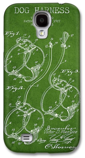 Puppy Drawings Galaxy S4 Cases - 1927 Dog Harness Patent - Green Galaxy S4 Case by Aged Pixel