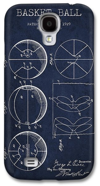 Basket Ball Galaxy S4 Cases - 1929 Basket Ball Patent - Navy Blue Galaxy S4 Case by Aged Pixel