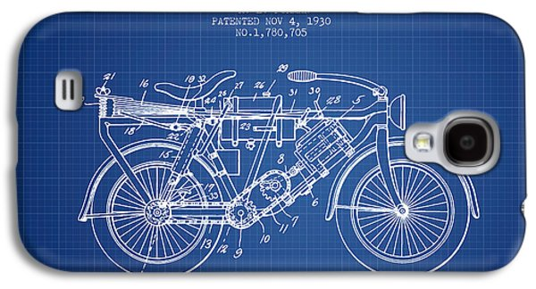 Bike Drawings Galaxy S4 Cases - 1930 Air Propelled Motorcycle Patent - Blueprint Galaxy S4 Case by Aged Pixel