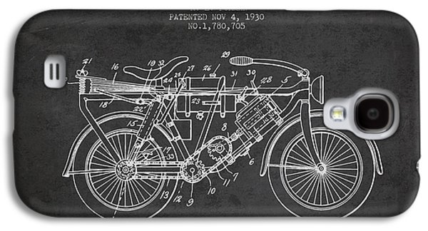 Bike Drawings Galaxy S4 Cases - 1930 Air Propelled Motorcycle Patent - Charcoal Galaxy S4 Case by Aged Pixel