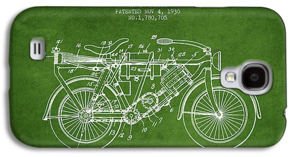 Bike Drawings Galaxy S4 Cases - 1930 Air Propelled Motorcycle Patent - Green Galaxy S4 Case by Aged Pixel