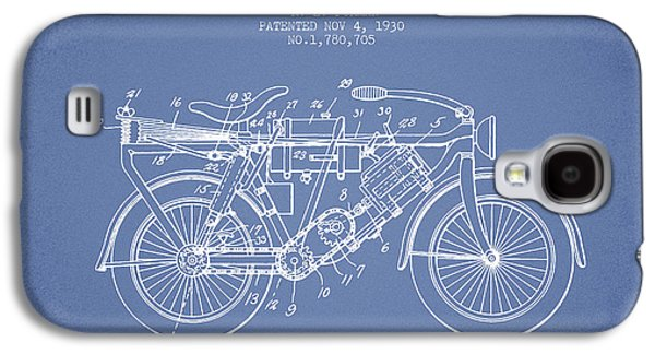 Bike Drawings Galaxy S4 Cases - 1930 Air Propelled Motorcycle Patent - Light Blue Galaxy S4 Case by Aged Pixel