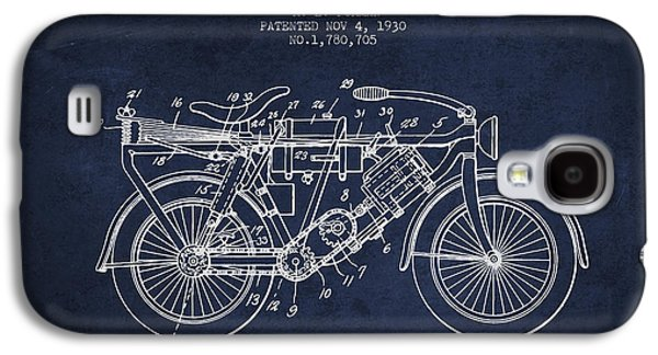 Bike Drawings Galaxy S4 Cases - 1930 Air Propelled Motorcycle Patent - Navy Blue Galaxy S4 Case by Aged Pixel