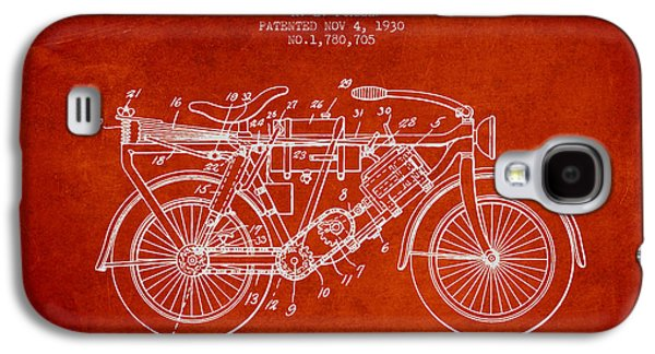 Bike Drawings Galaxy S4 Cases - 1930 Air Propelled Motorcycle Patent - Red Galaxy S4 Case by Aged Pixel