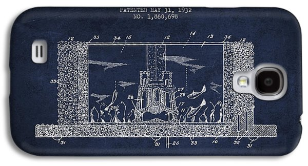 Aquarium Fish Galaxy S4 Cases - 1932 Aquarium Patent - Navy Blue Galaxy S4 Case by Aged Pixel