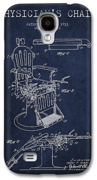 Chair Drawings Galaxy S4 Cases - 1933 Physicians chair patent - Navy Blue Galaxy S4 Case by Aged Pixel