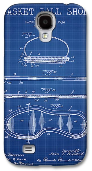 Basket Ball Galaxy S4 Cases - 1934 Basket Ball Shoe Patent - blueprint Galaxy S4 Case by Aged Pixel