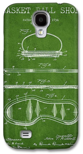 Basket Ball Galaxy S4 Cases - 1934 Basket Ball Shoe Patent - Green Galaxy S4 Case by Aged Pixel