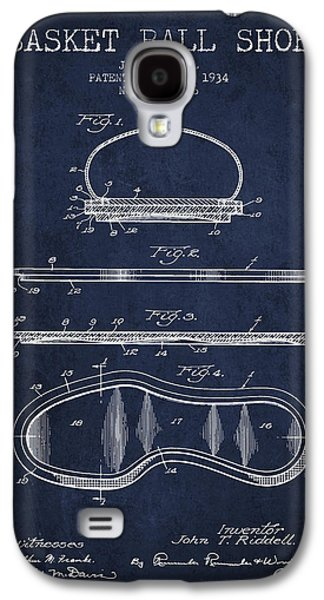 Basket Ball Galaxy S4 Cases - 1934 Basket Ball Shoe Patent - Navy Blue Galaxy S4 Case by Aged Pixel