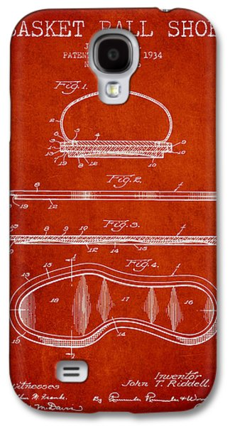 1934 Basket Ball Shoe Patent - Red Galaxy S4 Case by Aged Pixel
