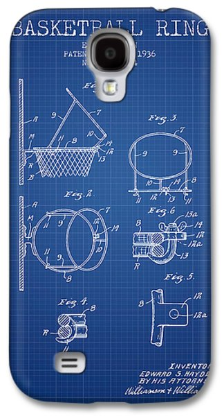 Basketball Galaxy S4 Cases - 1936 Basketball Ring Patent - blueprint Galaxy S4 Case by Aged Pixel