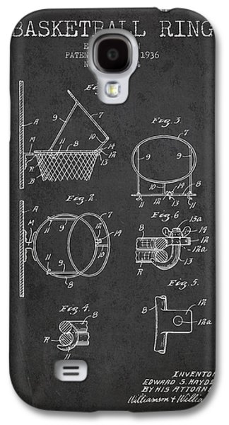Basketball Galaxy S4 Cases - 1936 Basketball Ring Patent - charcoal Galaxy S4 Case by Aged Pixel