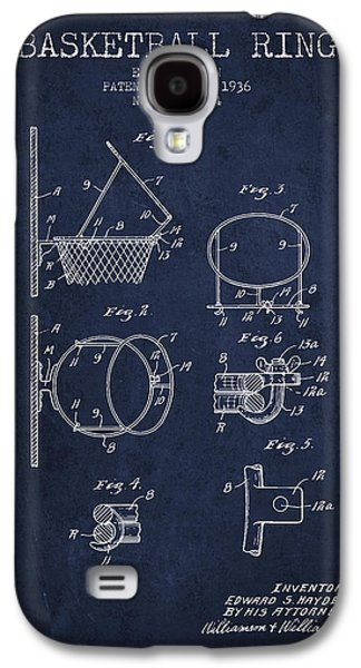 1936 Basketball Ring Patent - Navy Blue Galaxy S4 Case by Aged Pixel