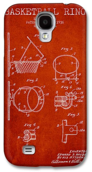 Dunk Galaxy S4 Cases - 1936 Basketball Ring Patent - red Galaxy S4 Case by Aged Pixel