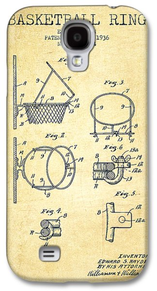 Basketballs Galaxy S4 Cases - 1936 Basketball Ring Patent - vintage Galaxy S4 Case by Aged Pixel