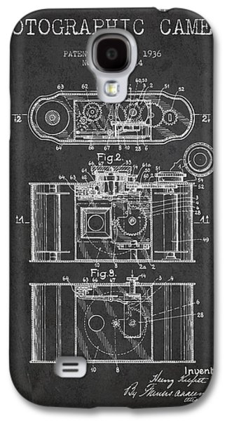 Decor Drawings Galaxy S4 Cases - 1936 Photographic camera Patent - charcoal Galaxy S4 Case by Aged Pixel