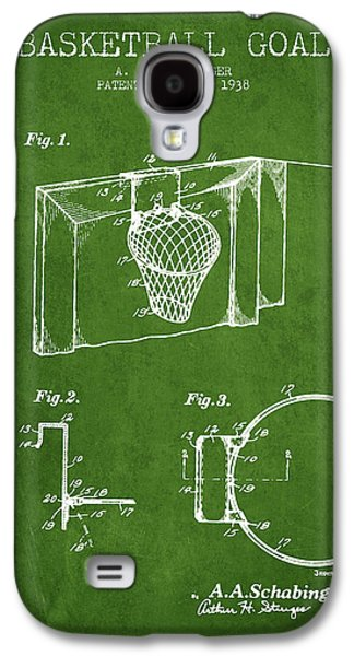 1938 Basketball Goal Patent - Green Galaxy S4 Case by Aged Pixel