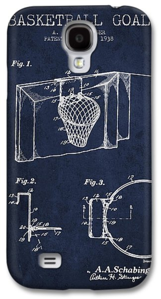Basket Ball Galaxy S4 Cases - 1938 Basketball Goal Patent - Navy Blue Galaxy S4 Case by Aged Pixel