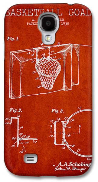 Dunk Galaxy S4 Cases - 1938 Basketball Goal Patent - Red Galaxy S4 Case by Aged Pixel