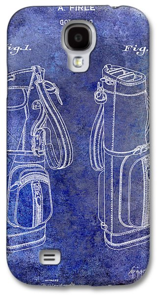 Golf Club Photographs Galaxy S4 Cases - 1938 Golf Bag Patent Blue Galaxy S4 Case by Jon Neidert