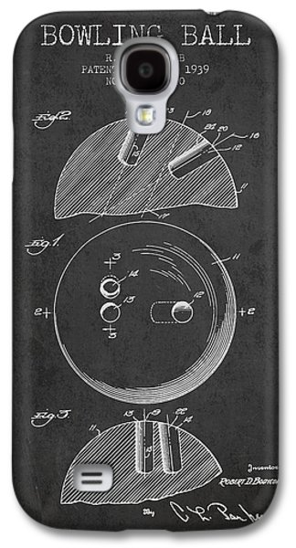 Carpet Drawings Galaxy S4 Cases - 1939 Bowling Ball Patent - Charcoal Galaxy S4 Case by Aged Pixel