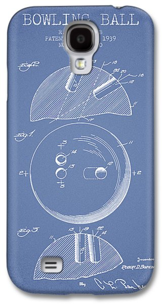 Carpet Drawings Galaxy S4 Cases - 1939 Bowling Ball Patent - Light Blue Galaxy S4 Case by Aged Pixel