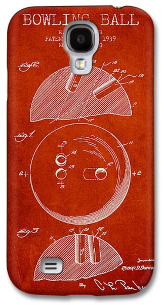 Carpet Drawings Galaxy S4 Cases - 1939 Bowling Ball Patent - Red Galaxy S4 Case by Aged Pixel